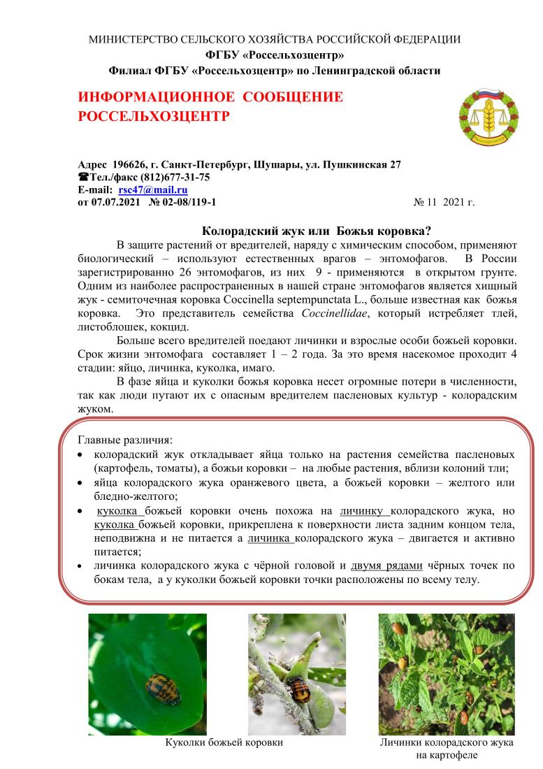 Россельхозцентр. Информац.сообщение11-1